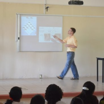 Giving a talk to a local high school in Mexico.